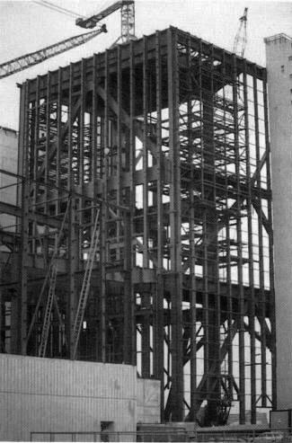 Bild 9: Fertig montiertes Hauptgerüst mit Fassadenstützen